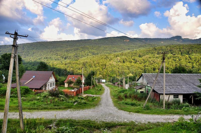 Rural life. In the small settlement Burniy of Krasnodar region at the foot of the Caucasus Mountains royalty free stock photo