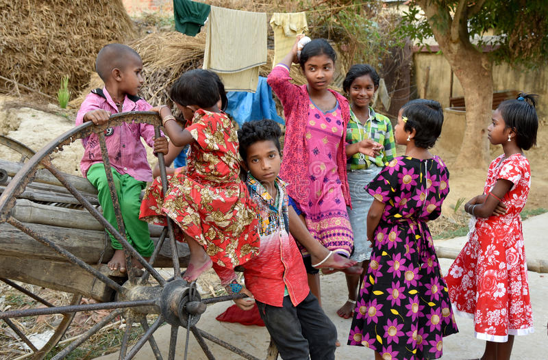 Rural Lifestyle. A group of children gathering in the tribal village at Bolpur-WestBengal-India royalty free stock image