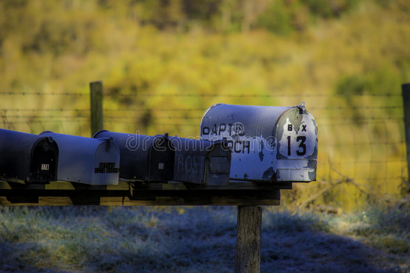 Rural Mailboxes in Autumn stock images