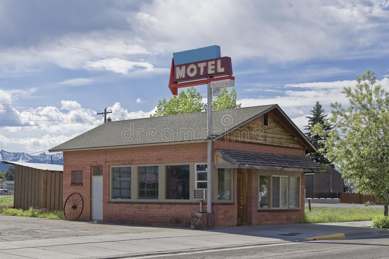 Rural Motel on the road, Wyoming stock images