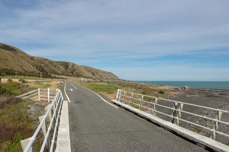 Seaside New Zealand Country Road royalty free stock images