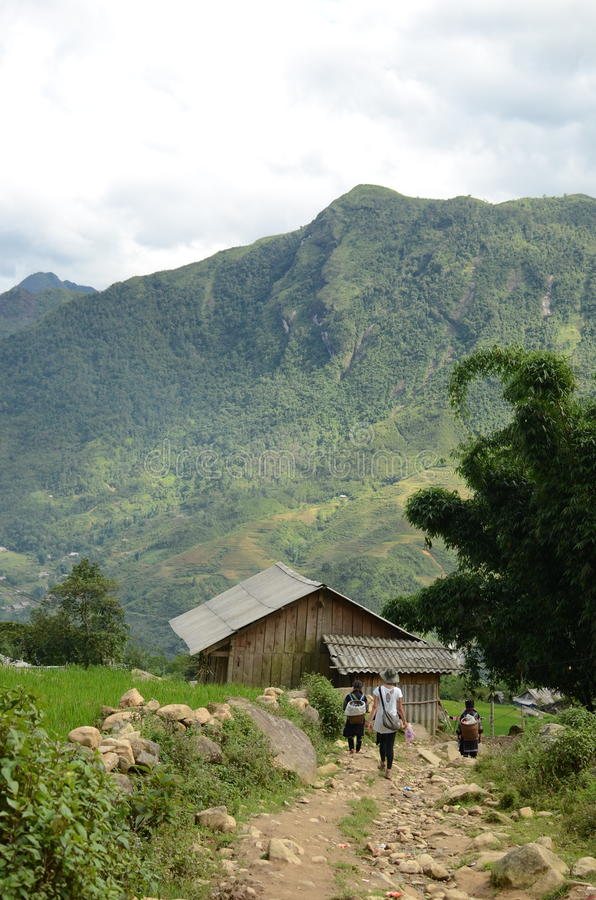 Rural North Vietnam. Green mountains near Sapa, Vietnam stock image