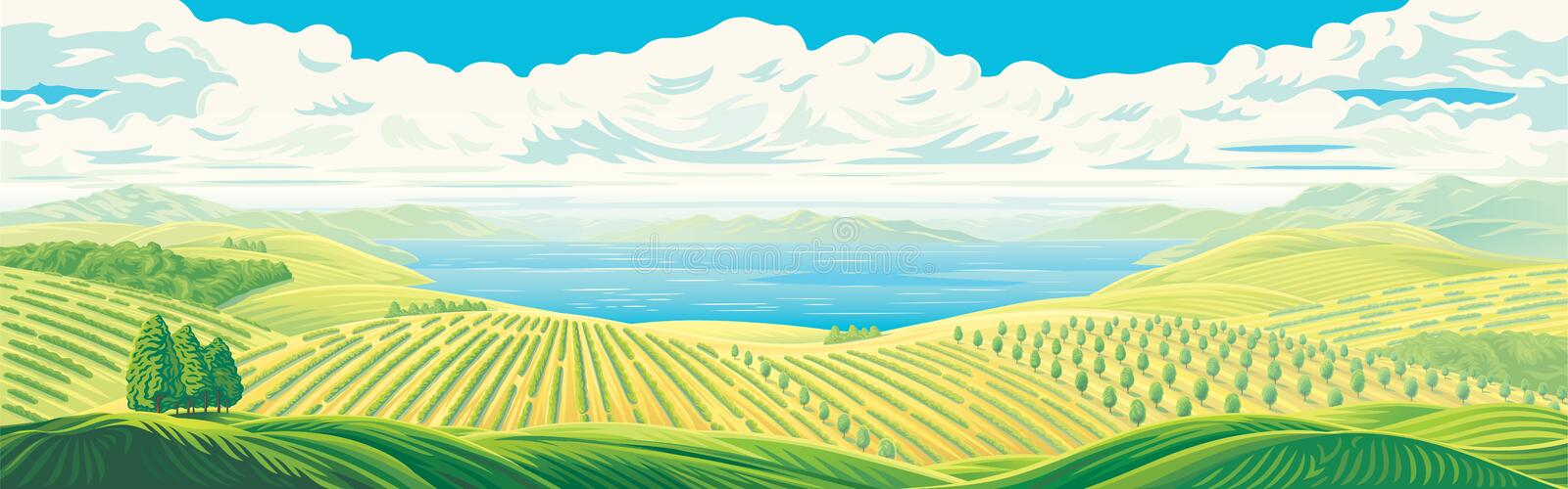 Rural panoramic landscape. With a beautiful view of distant fields, gardens and plantations with a large water lake or sea. Vector illustration stock illustration