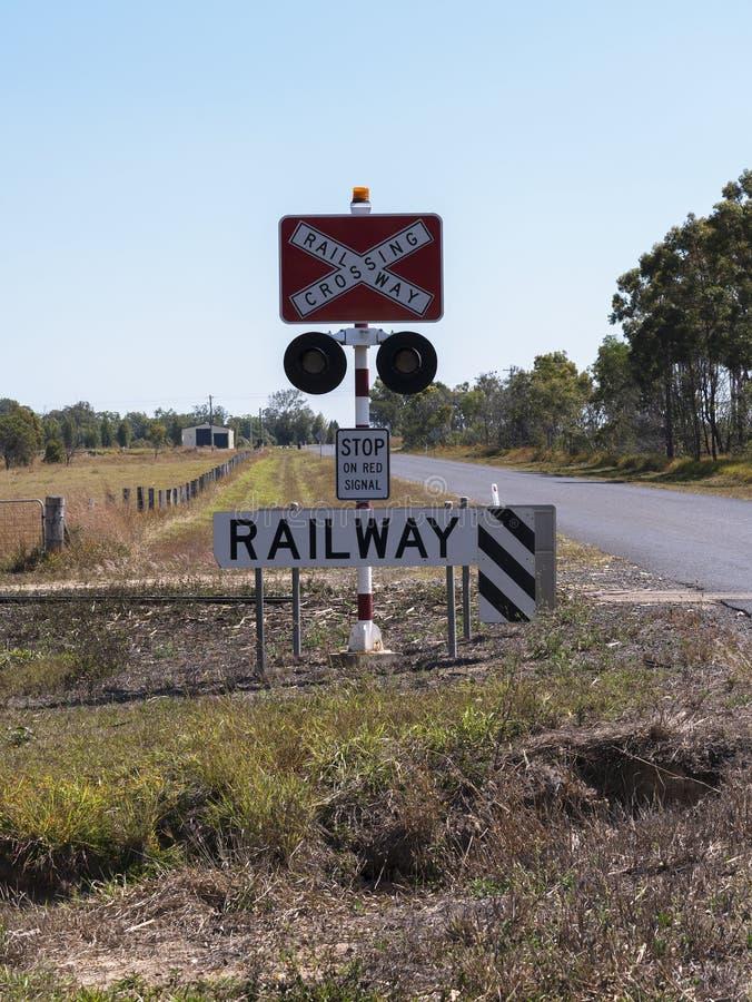 Rural railway crossing signage in Australia. stock image