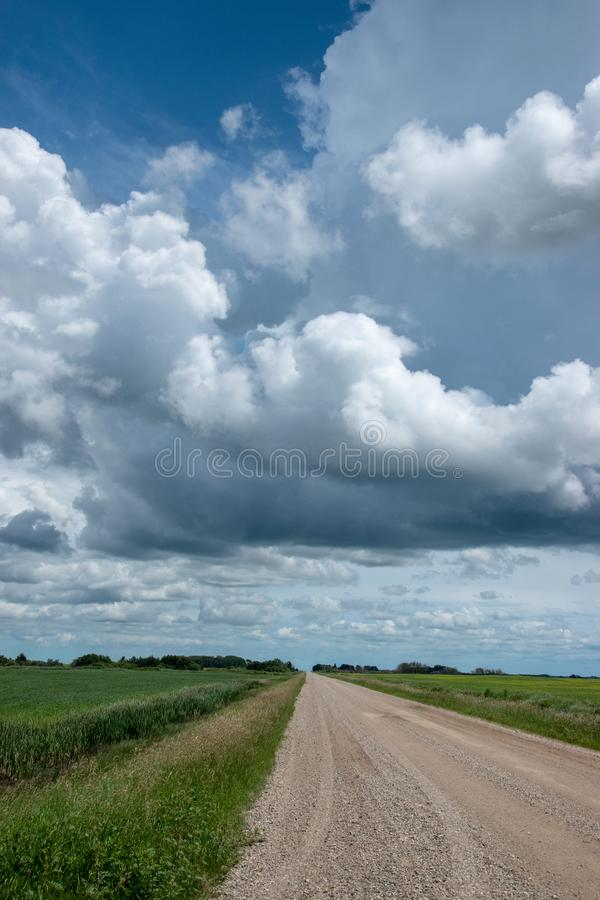 Rural Range Road and Farm Land, Saskatchewan, Canada. Rural Range Road and Farm Land, Saskatchewan, Canada stock photography