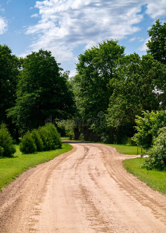 Rural road without asphalt surrounded by green trees royalty free stock photos