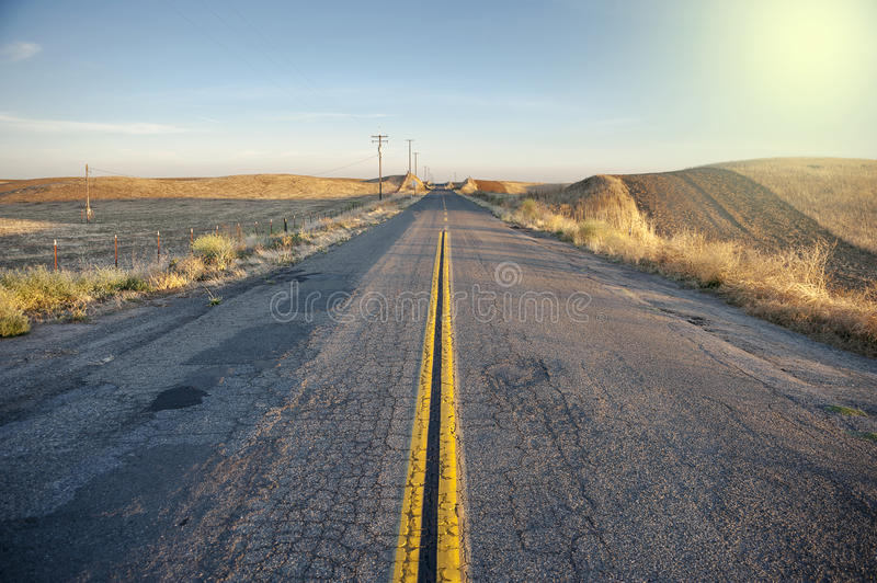 Rural road country side sunset California royalty free stock image