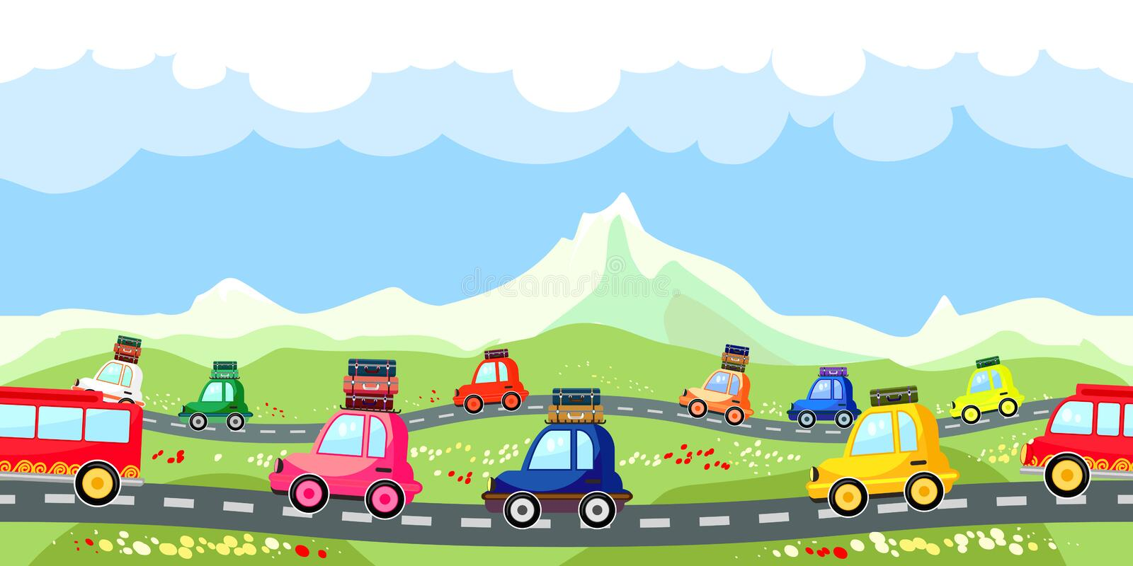 Rural road with a line of tourist traffic vector illustration
