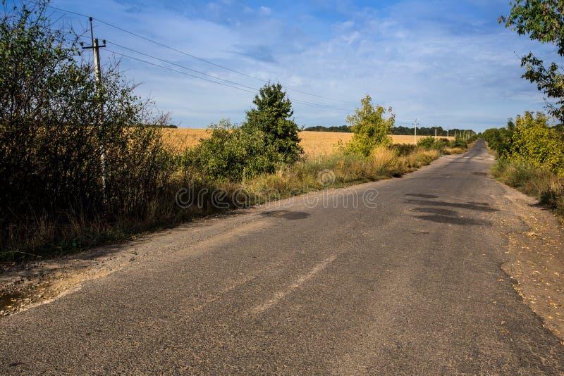 Rural road in Ukraine stock photo