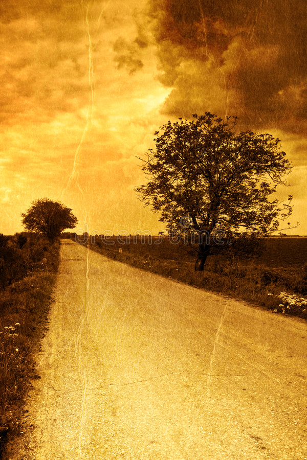 Rural road in vintage style stock photo