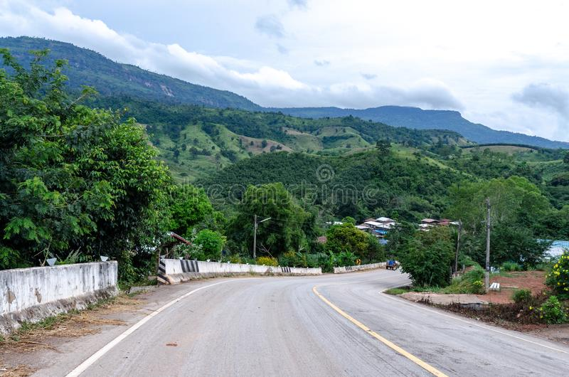 Rural roads, mountain views in Thailand royalty free stock photo