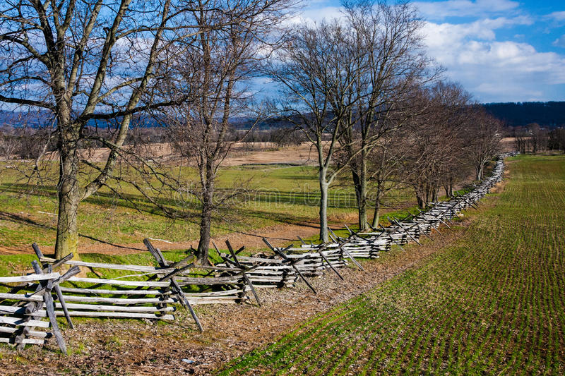 Rural Scene at Antietam Battlefield. Bare trees, wood rail fences and furrowed ground in this autumn landscape of a portion of the Antietam Battlefield near stock images
