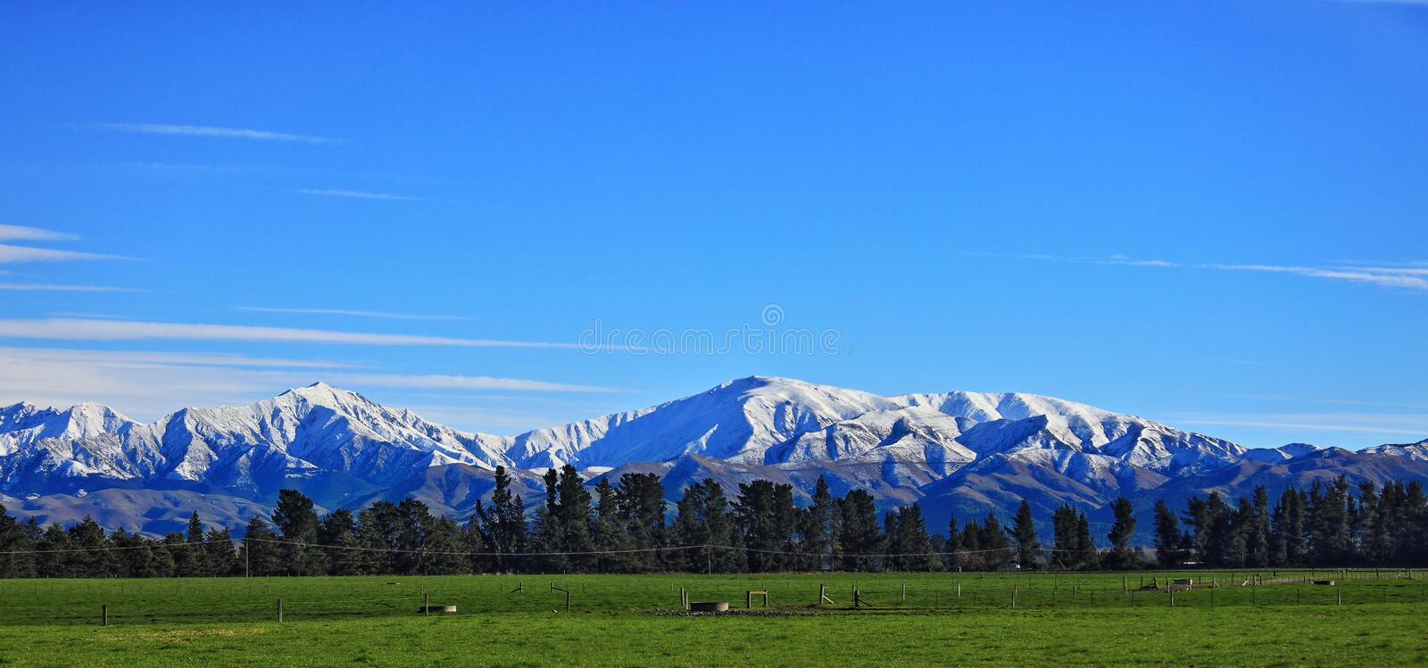 Rural Scenery from Ashburton Christchurch New Zealand. South Island scenic highway sightseeing. The Road between Ashburton Christchurch yield some beautiful royalty free stock photography