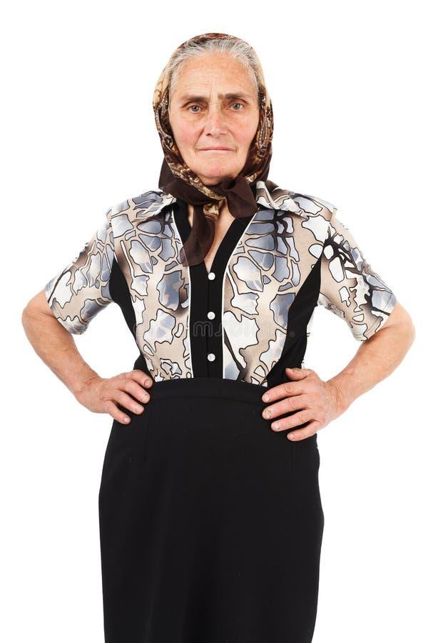 Rural senior woman on white