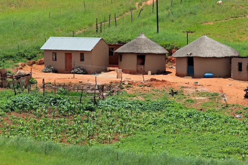 Rural settlement - South Africa. Small rural settlement in mountainous grassland, KwaZulu-Natal, South Africa royalty free stock photography