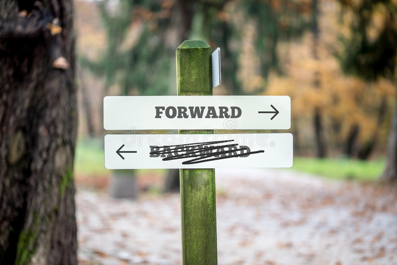 Rural signboard - Forward - Backward royalty free stock photo