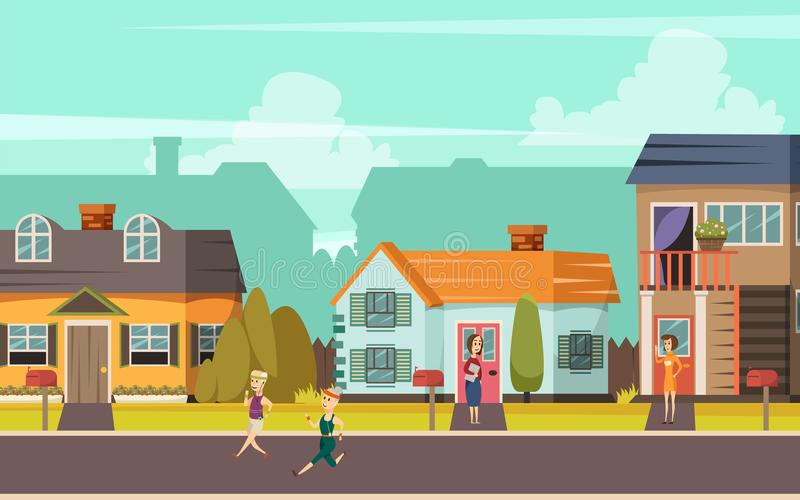 Rural Street Orthogonal Background. With cottages playing children and communicating neighbors flat vector illustration vector illustration