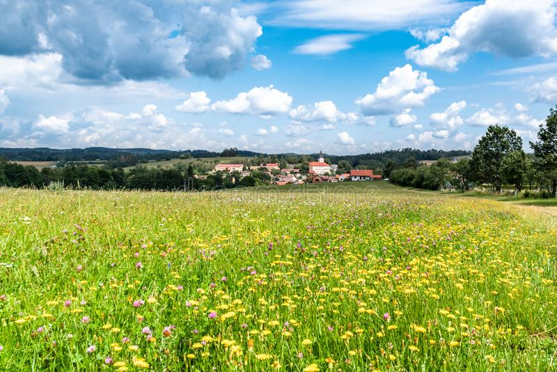 Rural summer landscape with green meadow, blue sky and white clouds. Jistebnice, South Bohemia, Czech Republic.  stock image