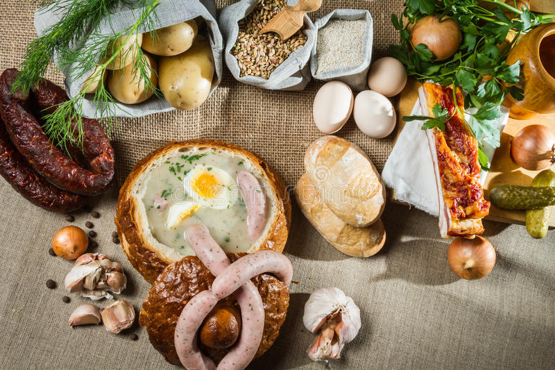 Rural sumptuous table for Easter stock photos