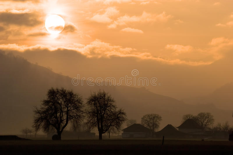 Download Rural Sunset stock image. Image of idyllic, bright, scenery - 9568621