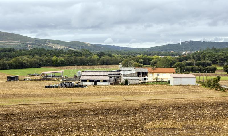Farm in the meadows. Of the north of Spain in a cloudy day royalty free stock photo