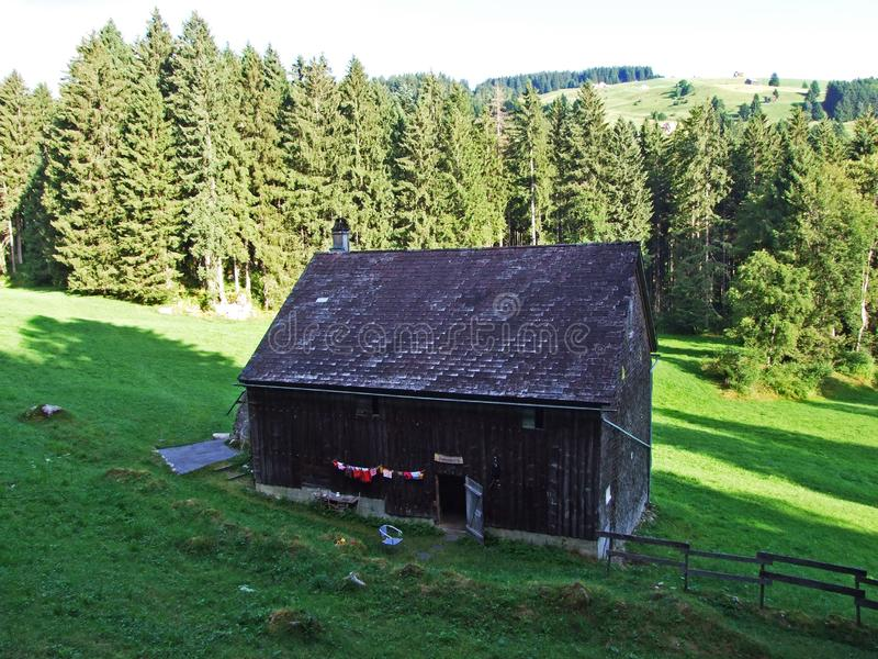 Rural traditional architecture and livestock farms on the slopes of Alviergruppe and in the Rhine valley. Canton of St. Gallen, Switzerland royalty free stock image