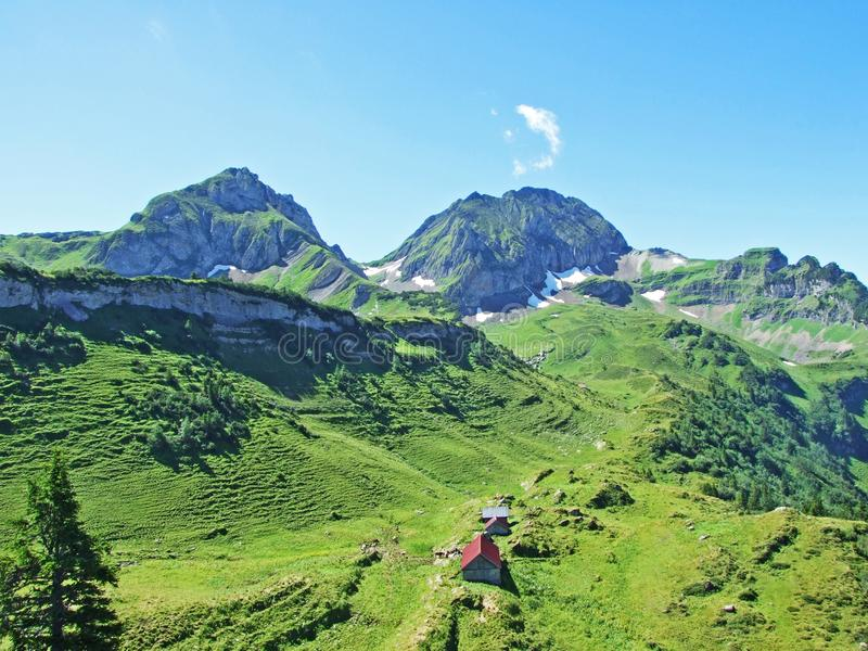 Rural traditional architecture and livestock farms on the slopes of Alviergruppe and in the Rhine valley. Canton of St. Gallen, Switzerland stock photo