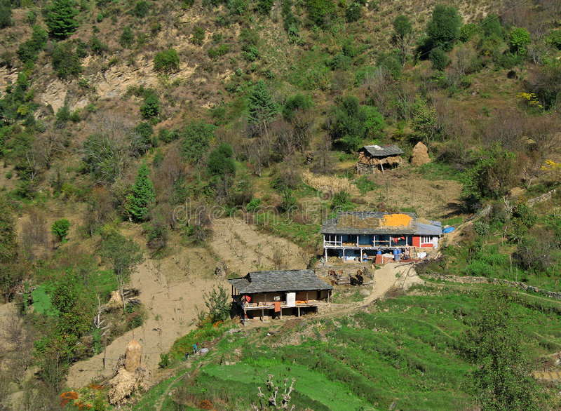 Rural tribal himalayan dwelling in Kullu India. Rural homes and architecture in remote Kullu valley of himalayas India. also view of corn set out to dry on roof royalty free stock image