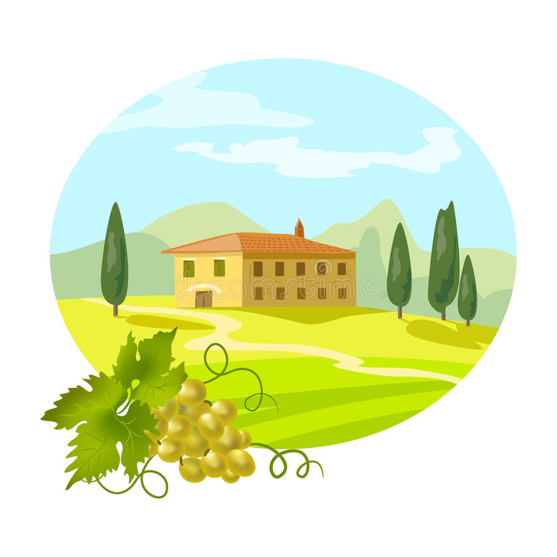 Rural Tuscan landscape with a branch of grapes vector illustration