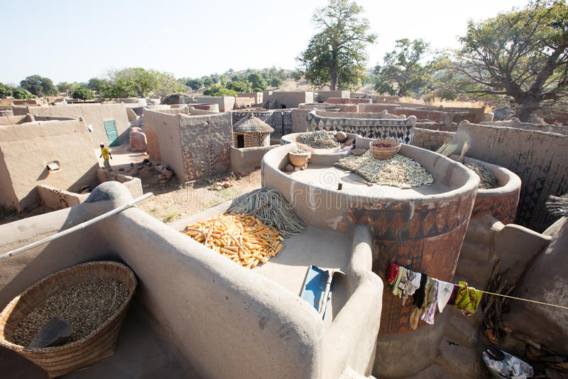 Rural village life. Lifestyle in rural village in Burkina Faso stock images