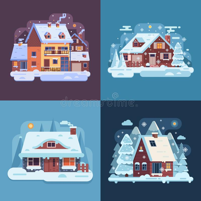 Rural Winter Houses and Cabins Landscapes royalty free illustration