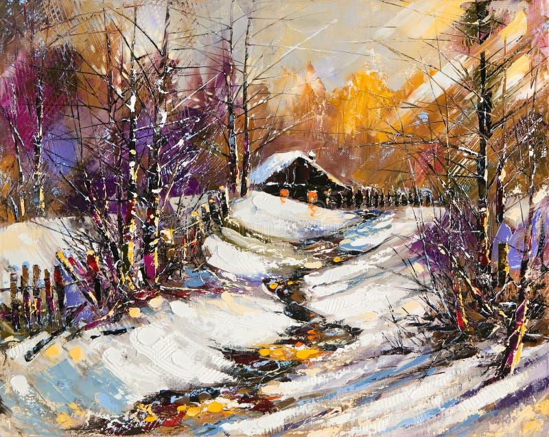 Rural winter landscape stock illustration