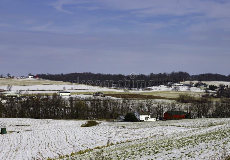 Rural winter scene stock photography