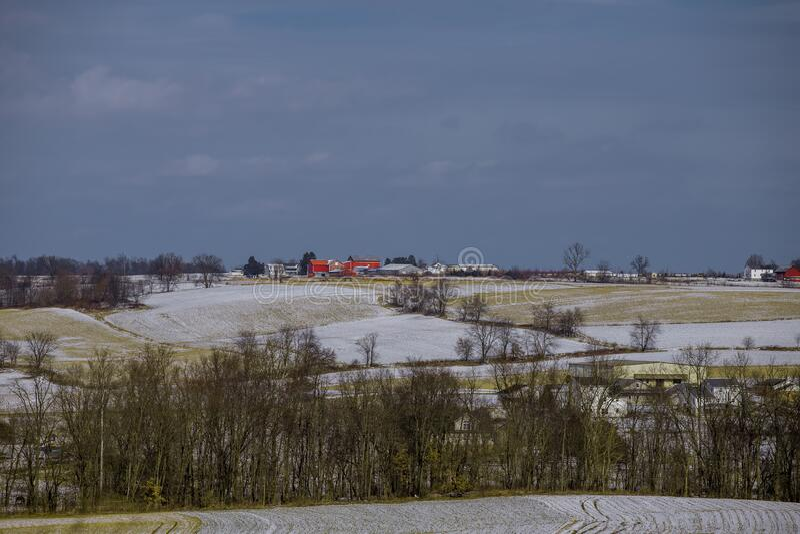 Rural winter scene stock images