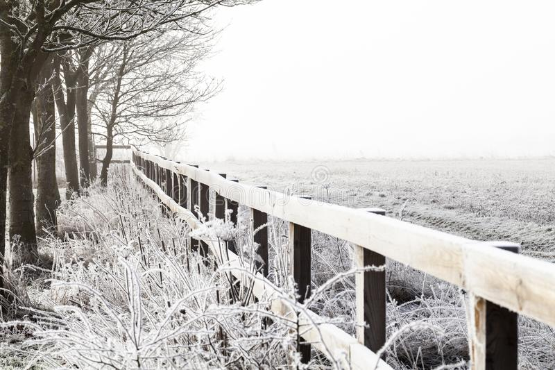 Rural winter snow landscape and fence. Rural winter snow scene with wooden fence and bare trees. Empty farm field and copy space royalty free stock photos