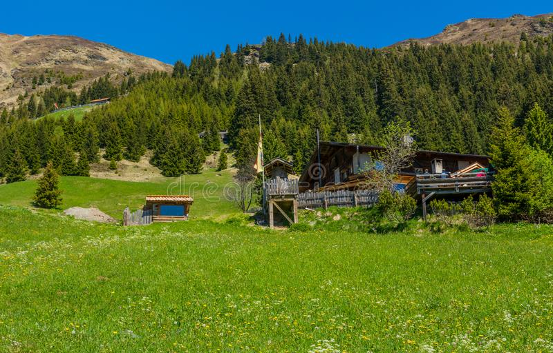 Rural wooden house in mountain. Ridanna Valley, South Tyrol, Trentino Alto Adige, Italy royalty free stock photography