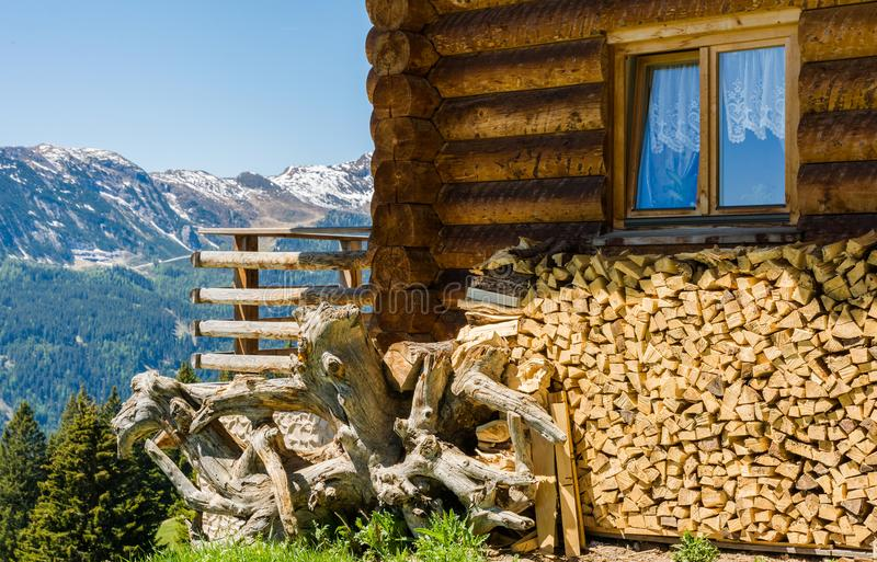 Rural wooden house in mountain. Ridanna Valley, South Tyrol, Trentino Alto Adige, Italy royalty free stock image
