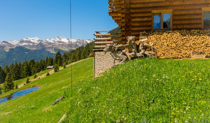 Rural wooden house in mountain. Ridanna Valley, South Tyrol, Trentino Alto Adige, Italy stock photos
