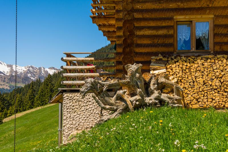 Rural wooden house in mountain. Ridanna Valley, South Tyrol, Trentino Alto Adige, Italy royalty free stock photo
