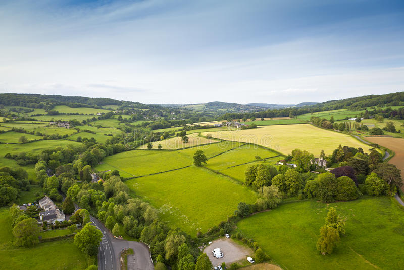 Rurale idilliaco, vista aerea, Cotswolds Regno Unito immagine stock libera da diritti