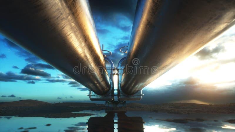 Rurociąg transportu olej, gaz naturalny lub woda w metal drymbie, Nafciany pojęcie świadczenia 3 d royalty ilustracja