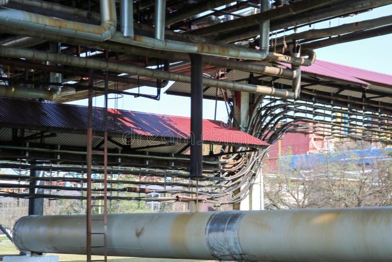 Rurociąg wiadukt z żelaznymi ośniedziałymi drymbami dla pompować ciecz, kondensat z ujściami i odcieki w rafinerii ropy naftowej, fotografia royalty free
