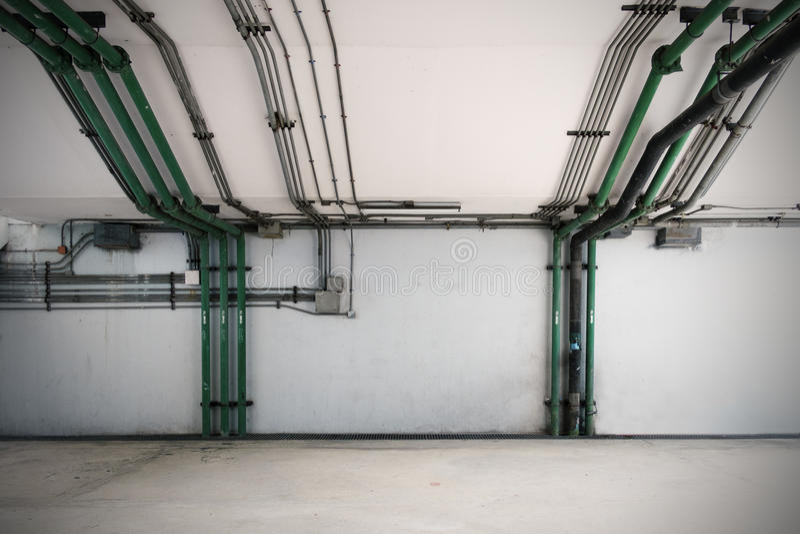 Rurociągowi systemy, przemysłowy wyposażenie, wnętrze zdjęcie stock