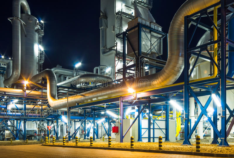 Rurociągowy system w przemysłowej roślinie zdjęcie royalty free