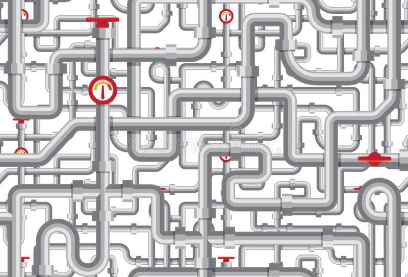 Rurociągowy wektoru wzór Labirynt tubki, żurawie, tonometers, drymby Kotłowego pokoju tekstury projekt Stalowego mieszkania geome ilustracji