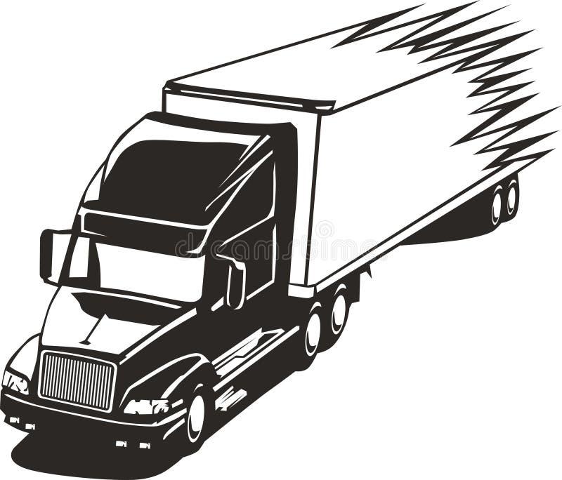 rusa lastbil för stor huvudvägrigg royaltyfri illustrationer