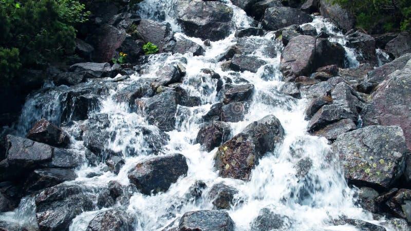 Rusa skummande vatten av den steniga vattenfallet arkivfoton