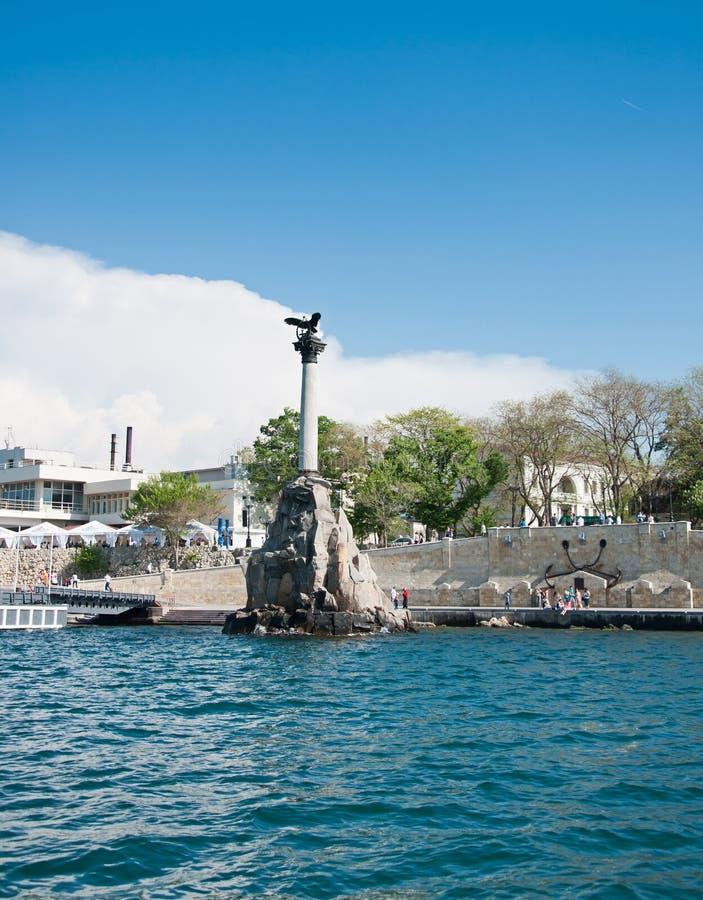 Rusad krigsskeppmonument i Sevastopol, Krim royaltyfria foton