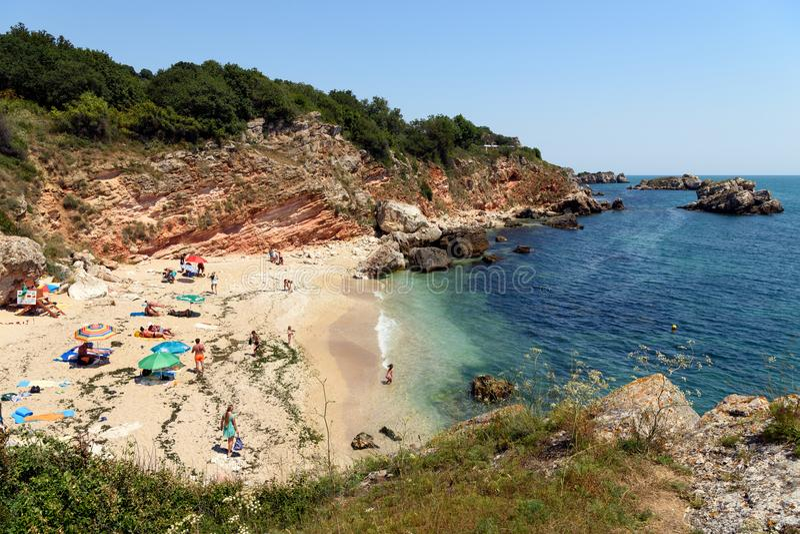 Rusalka strand i sommaren, Dobrich landskap, Bulgarien royaltyfria foton