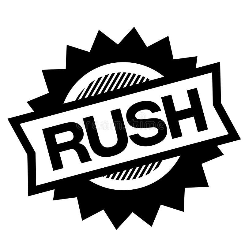 Rush black stamp. On white background. Sign, label, sticker stock illustration